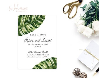 Printable Save The Date  / Save the Date Card/ Custom Save the Date -  Tropical Banana Leaf - Grace