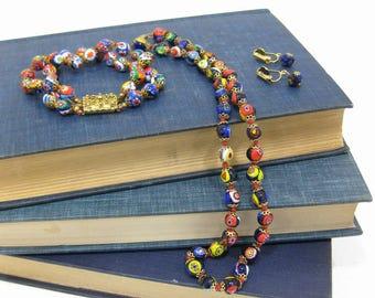 Vintage Millefiori Glass Bead Jewelry Set