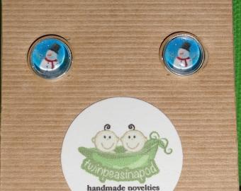 Christmas Snowman Stud Earrings - Frosty the Snowman - glass dome earring studs - silver earring post studs