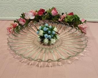 Large Cut Glass Platter, Vintage Glass Plate, Cut Glass Serving Plate, Dessert Platter, Party Plate, Wedding, Gift Giving