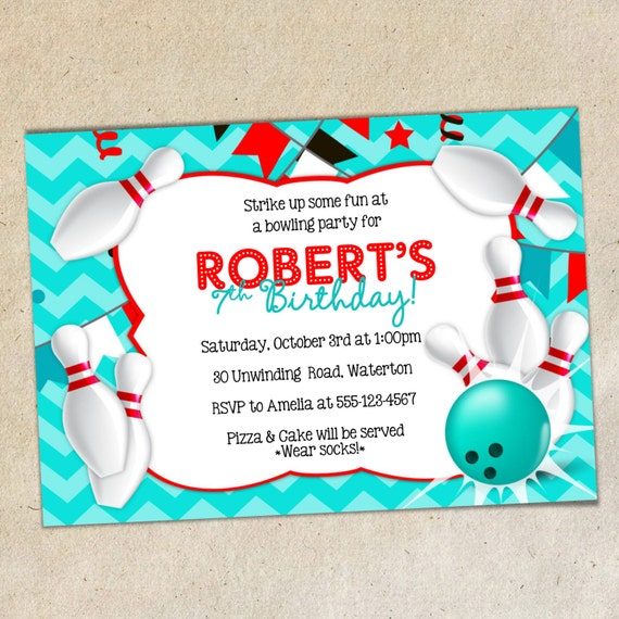 Bowling party invitation template chevron background bowling bowling party invitation template chevron background bowling invite word doc template diy you create stopboris Images