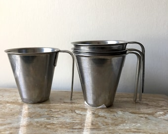 Vintage Mid Century Modern Swedish Mugs 4 Stainless Steel Scandinavian
