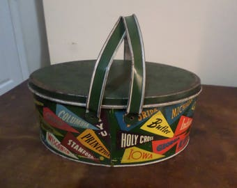 Vintage Tin Ohio Arts NCAA College Pennant Logo Oval Lunch Box/Storage Box Excellent Original Condition TC