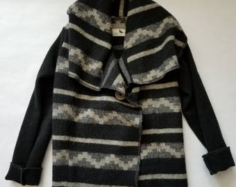 Black and Grey Southwestern Wool Children's Coat 4T