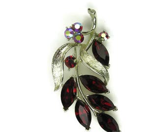 Lisner Red Rhinestone Leaf Brooch