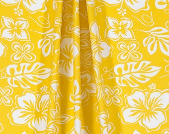 Yellow and white window curtain panels, 50 x 96 drapes, Premier hibiscus , rod pocket window curtains, unlined, lined, blackout