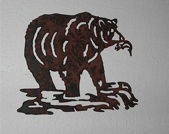 Bear Fishing  - Wall art - Metal art