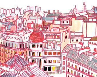"""Postcard 'The roofs of Paris' * Postcard """"Paris Rooftops"""""""