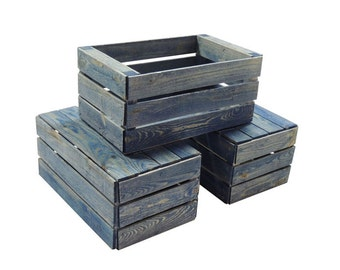 3 Small Wooden Crates Fully Assembled and Dyed Blue
