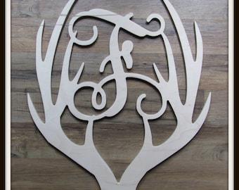 "Antler Door Hanger with Monogram Letter - Unpainted Wood - 22"" size - Door or Entryway Decor - Wood Letter - Wall Hanging - Hunting - Stag"