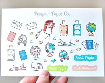 P080-Travel planner stickers, roadtrip stickers, airplane stickers, flight planner stickers, reminder stickers, book flight, 29 stickers