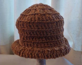 half price organic cotton rolled brim hat in golden brown