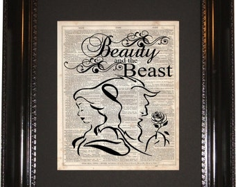 Beauty and the Beast, Dictionary Art Print, Vintage Dictionary, Silhouette, Disney art, Wall Decor, Wall Hanging, Art Prints, Cameo