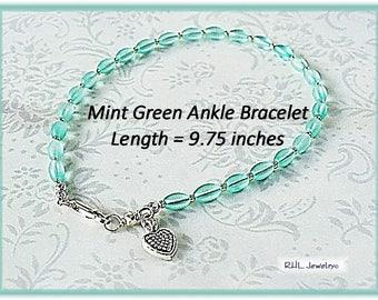 Ankle Bracelets, Pastel Green Ankle Bracelet, Mint Green Anklet, Ladies Plus Size Bracelet - AB2012-04