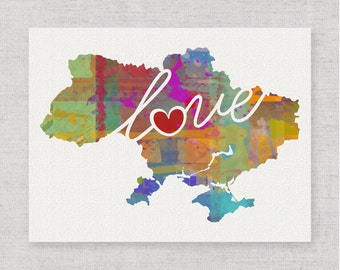 Ukraine Love - Colorful Watercolor Style Wall Art Print & Home Country Map Artwork - Adoption, Moving, Engagement, Wedding Gift and More