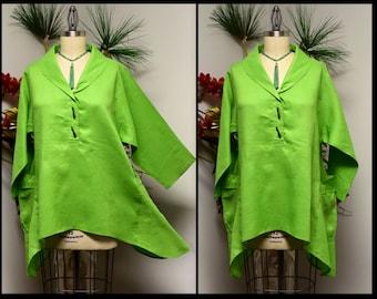 Linen Blouse, Linen Tunic, Plus Size Tunic, Asymetrical Tunic, Lagenlook Tunic, Plus size tunic top M TO 3XL