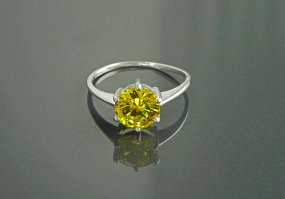 YELLOW, Sterling Silver, Ring - 925, Unique Stone Ring, 8mm, CZ, Vintage Design, Zirconia Gemstone, Women Ring, Size Plus, Small Ring -