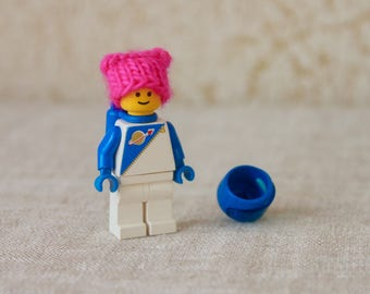KNITTING PATTERN, Lego Guy Pussy Hat, Pussycat Hat, Pussyhat Project, Feminist Humor, Girl, Women's Rights, pink hat, Lego Hat, Lego people