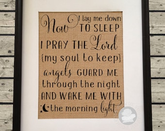 Bedtime Prayer Burlap Art - Now I lay me down to sleep - Nursery Decor -Baby Shower Gift - Baptism Gift - Artwork only