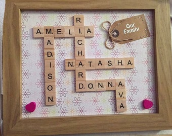 Personalised family names scrabble frame
