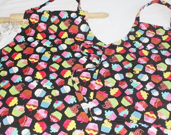 Colorful Cupcakes on Black Mother Daughter Aprons