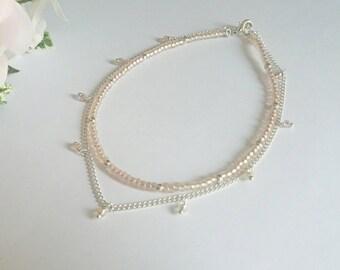 Pink anklet, beaded anklet, boho anklet, ankle bracelet, gifts for her, silver anklet, chain anklet, double anklet, summer jewellery,