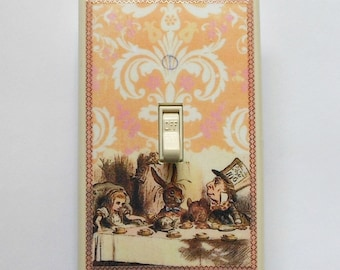 Mad Tea Party designs w/ MATCHING SCREWS- Alice in Wonderland nursery Alice in Wonderland Alice switchplate alice wall decorations Alice art