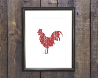 Rooster Art Print - Western Decor - Country - Barn - Farmhouse Decor - Instant Download - Kitchen Art - Wall Art - Housewares