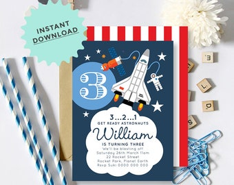 Astronaut Rocket Space Shuttle Invitation, INSTANT DOWNLOAD, DIY Printable, Templett, Editable pdf jpeg