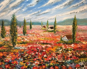 Oil Painting, LandScape Painting, Canvas Art, Oil Painting Original, Flower fields, Palette Knife Painting