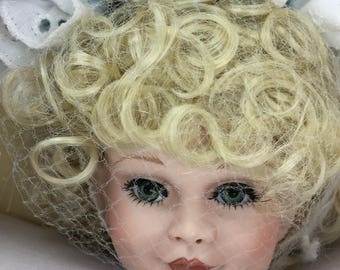 "Elizabeth and her Baby Bear, Vintage Paradise Galleries Porcelain Doll, 14"" Treasury Collection, Blonde Hair, Handcrafted Handpainted"