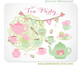 Tea Party Clipart - Shabby Chic - Doily, Bunting, Tea Set, Macarons - Instant Download