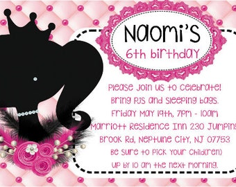 barbie silhouette invitation birthday invitation  heavy cardstock or digital