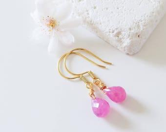Dainty Pink Sapphire Earrings | Pink Sapphire Briolette Earrings | Pink Gemstone Earrings | Bridesmaid Earrings | Pink Sapphire Jewelry