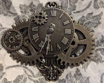 Steampunk Brooch Hat Pin Lapel Pin Shawl Pin Pirate Watchface Compass Gears