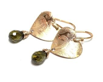 Gold Vermeil earrings, peridot quartz, womans earrings, boho, boheme, gipsy, elegant, handmade, great gift, dangle, green - free shipping