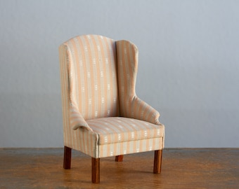 Artisan Made Wingback Chair - d. Anne Ruff - 1:12 Scale Vintage Dollhouse Furniture