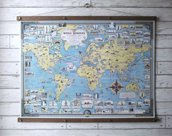 World Wonders Pictorial Map / Vintage Pull Down School Map Reproduction / Canvas Fabric Print / Wood Poster Hangers with Brass /Wall Hanging