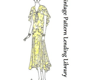 1929-30 Ladies Slip-On Dress With Capelet - Reproduction Sewing Pattern #Z2996