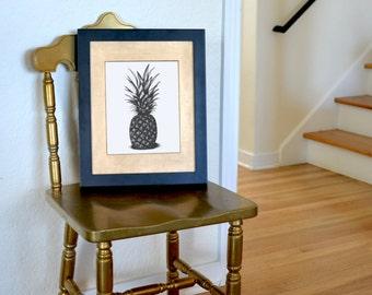 Ananas à main levée à l'encre dessin édition limitée, signée, numérotée, 8 en x 10 en