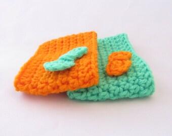 Crochet Coffee Cup Sleeve Set - Neon Fall w/Bow