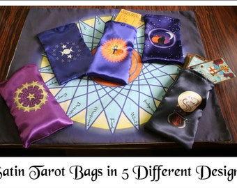Tarot Deck Bags - Satin Tarot Card Bags - Tarot Readings and Divination, Runes, Crystal Reading, Rider-Waite, Crowley