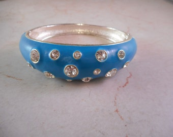 Clamper Bracelet  Blue Enamel with Clear Rhinestones