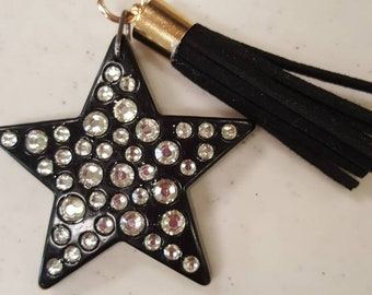 Black and bling star purse charm
