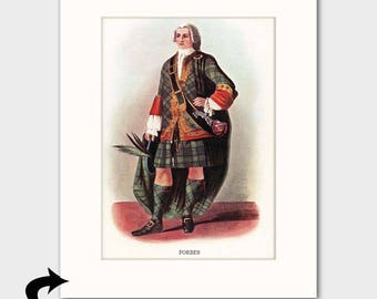 "Forbes Family Art Print w/Mat (Clan Chief Art, Traditional Scottish Dress, Gift for Men) Matted Scotland Art --- ""Clan Forbes"" No. 54"