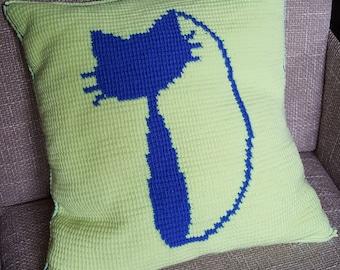 Crochet Pillow with a cat