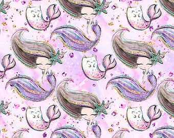 Mermaids 1/2 yard cotton lycra knit