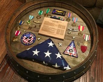 Wine Barrel Military Retirement Shadow Box