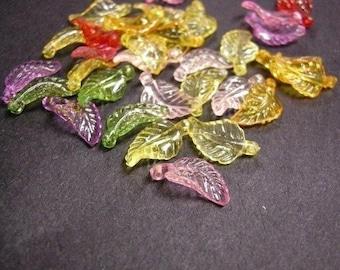 50pc mix transparent acrylic leaf pendant-2846