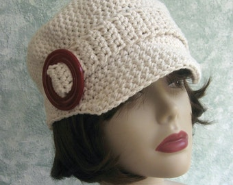Crochet Newsboy Hat Pattern Womens And Teen Sizing Cotton Crochet Hat Pattern With Visor And Buckle Trim Hair Loss Hat Instant Download